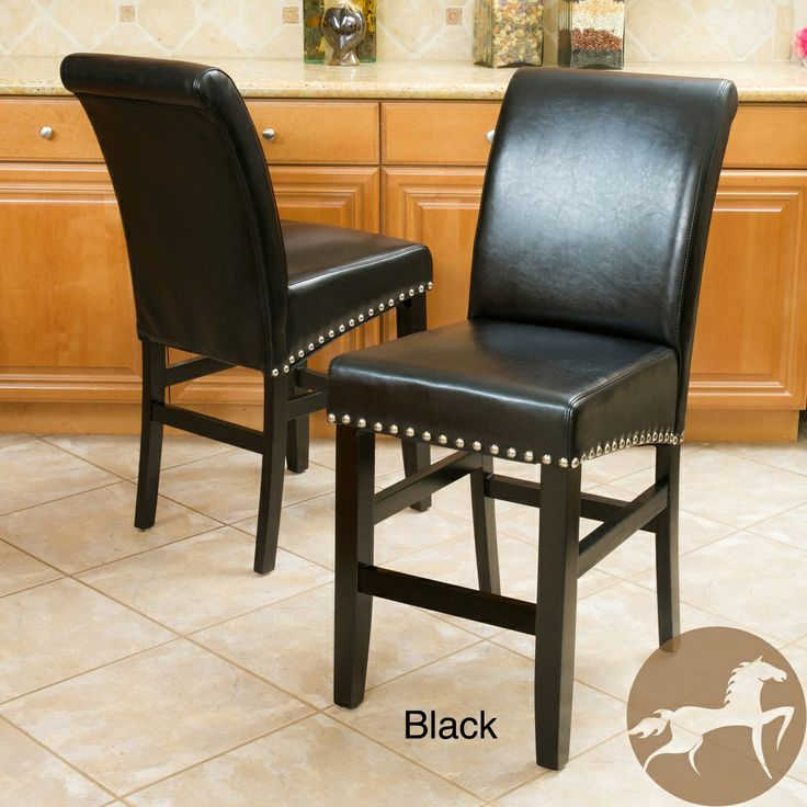 Christopher Knight Home Lisette Leather Counter Stool Set