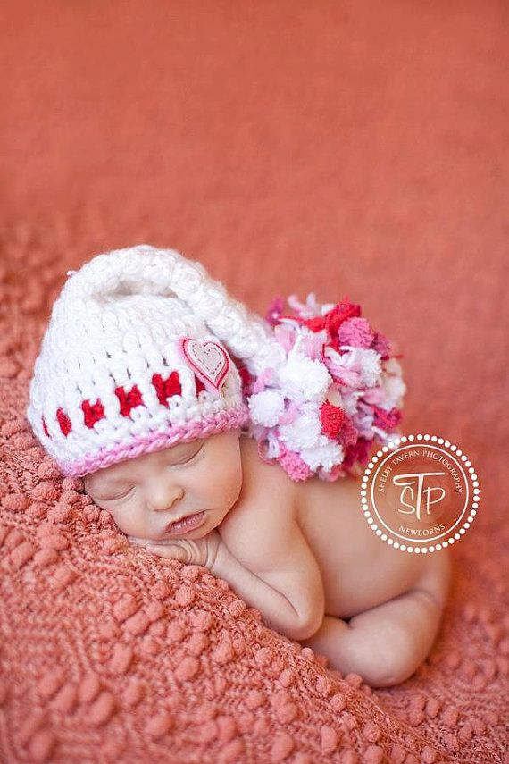 Baby Girl Hat Valentine Hat Newborn Baby Girl Or Boy Crochet Knit Chunky Pom Pom  Elf hat Valentines Day Heart Hearts PINK