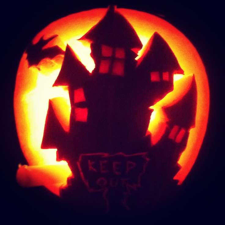 Haunted house pumpkin carving carved pinterest