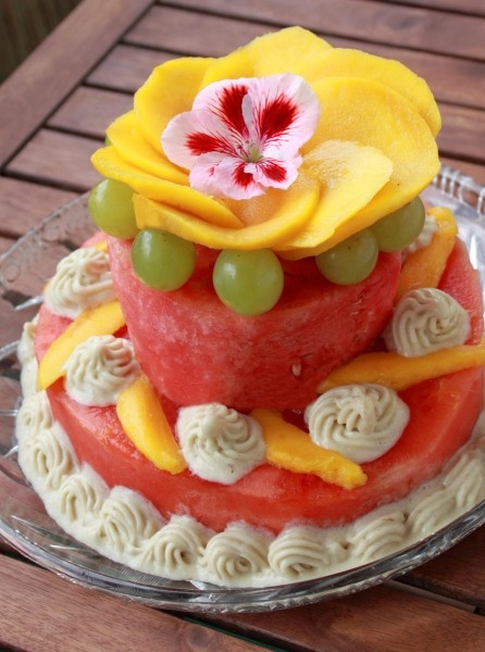 """Fruitcake with whipped banana """"frosting"""" 
