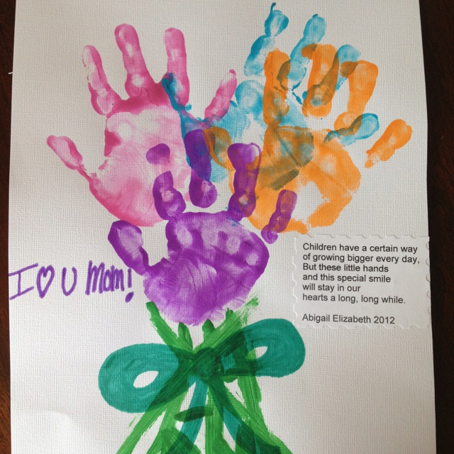 Mothers day craft handprint art fingerprint art for Mothers day preschool crafts