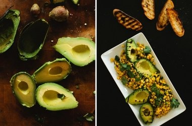 Grilled Avocado Salad + Berries with Honey Creme Anglaise