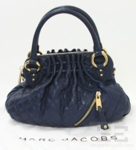 Marc Jacobs Navy Blue Quilted Leather Small Cecilia Handbag