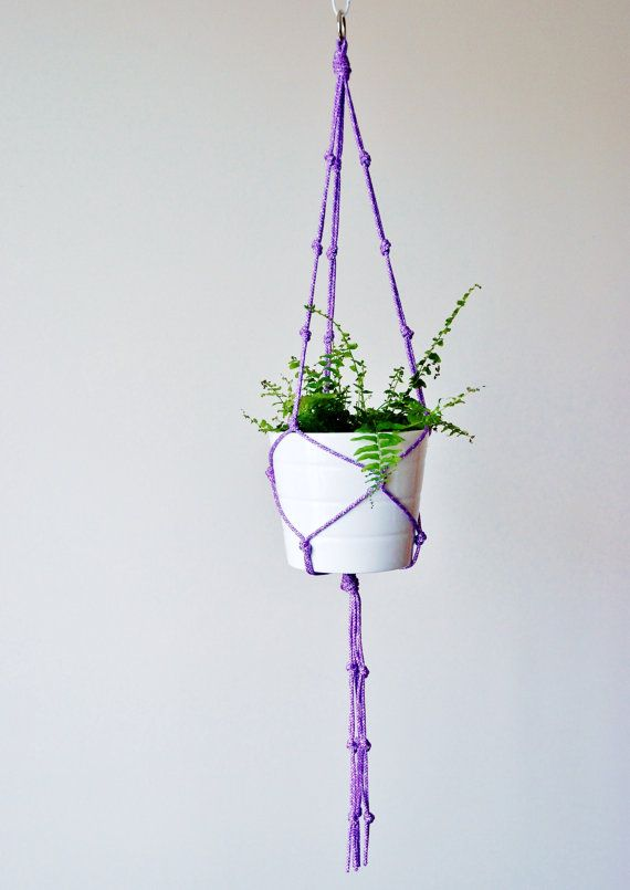 Lavender purple Indoor/outdoor macrame plant hanger by TheVintageLoop ...