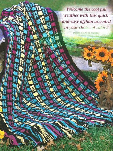 Crochet Crocheting Easy Beginner Pattern for a Geometric Afghan Blank ...