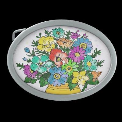 Pastel Flowers Belt Buckle