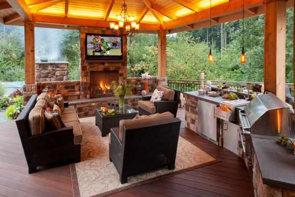 Warm outdoor kitchen and dining area interiors and for Kitchen dining area ideas