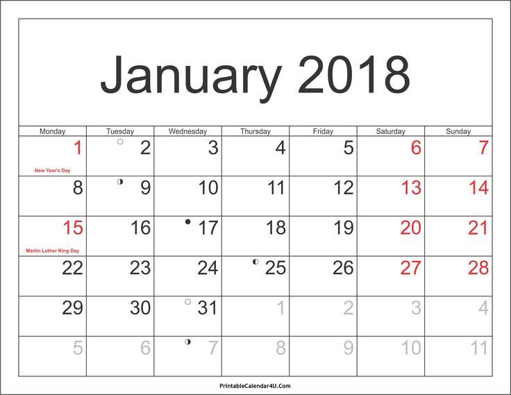 12 best Cute Calendar 2018 images on Pinterest   Spaces, Templates ...