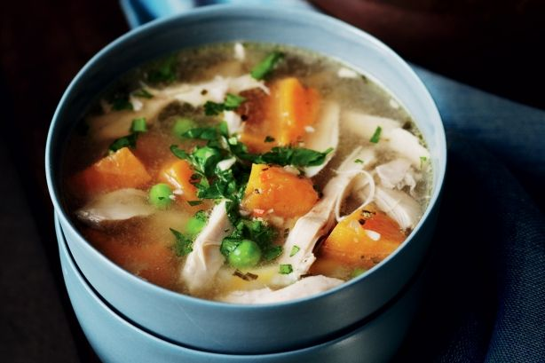 chicken soup recipe - can also add carrots, broccoli, parsley, thyme ...