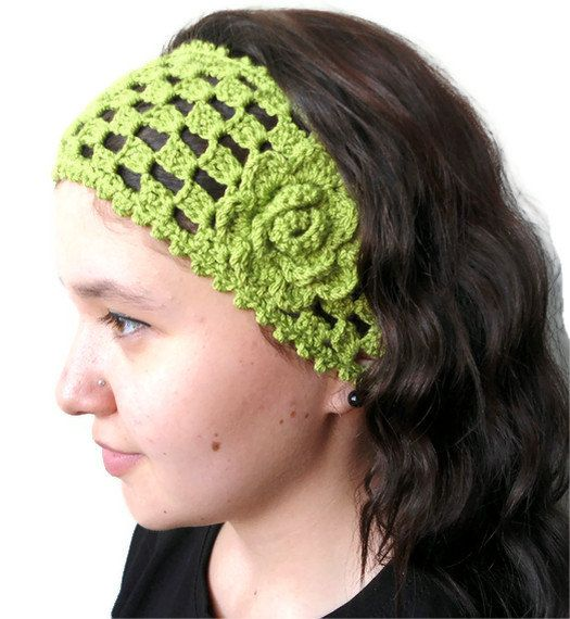 Unique Crochet Hair Styles : green crochet headband , hair accessories ,gift ,unique Turkish style ...