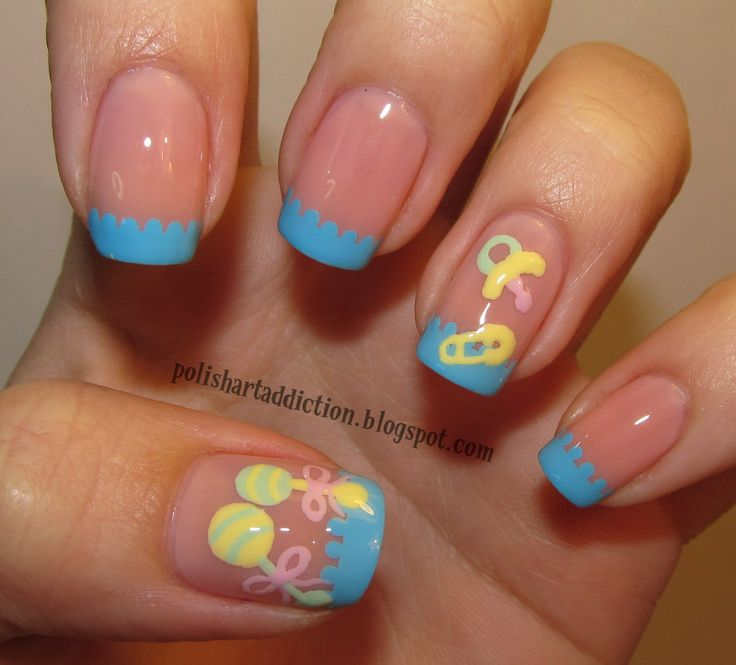 of baby items baby shower nail art boy or girl pinterest