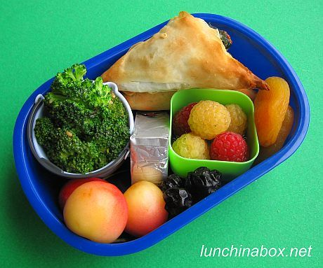 Steamed broccoli with Goddess dressing, spinach and cheese spanakopita ...