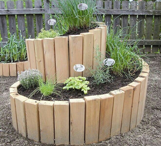 Unique Raised Bed Garden Ideas: Spiral Herb Garden Using 2x4's