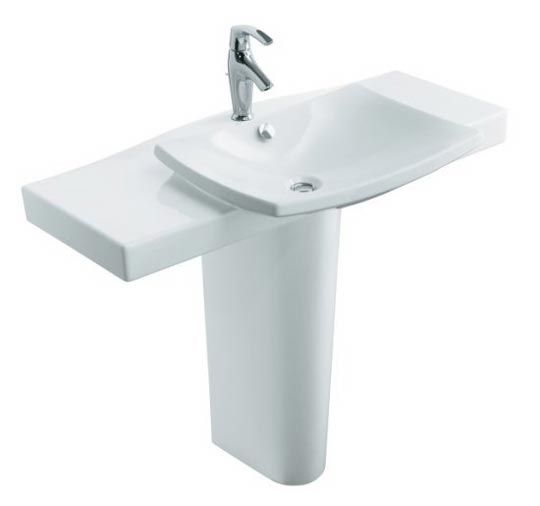 Pedestal Sink With Counter Space : Spaces