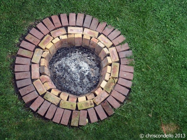 Recycled brick fire pit outdoor ideas pinterest for Backyard brick fire pit