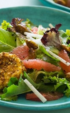 ... and Mixed Greens Salad with Pistachio Crusted Goat Cheese Rounds