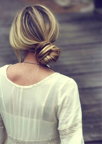 Love this chic wrap bun.