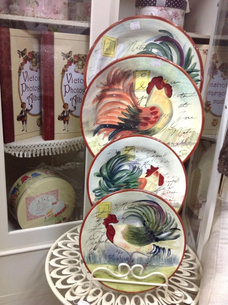 Rooster Decor Plates Roosters Kitchen Pinterest