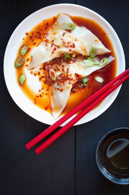 homemade shrimp wontons w/ spicy sauce. | Under the Sea Goodies | Pin ...