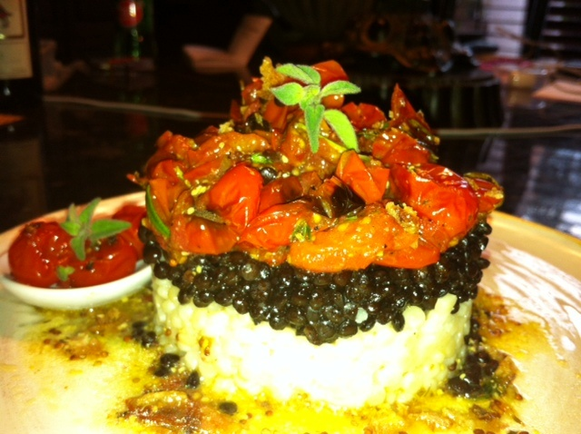 Beluga Lentils with Oven Roasted Tomatoes over Israeli couscous