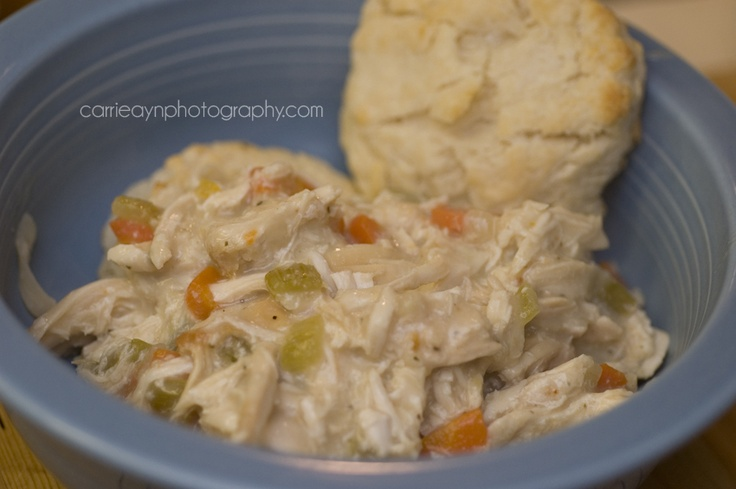 Slow- Cooker Creamed Chicken and Biscuits