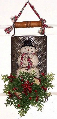Christmas Wreath Christmas Gifts Snowman Wreath Vintage Cheese Grater