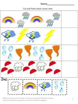 The Weather In Our World Cut And Paste Worksheet set Pre-K, K, Special ...