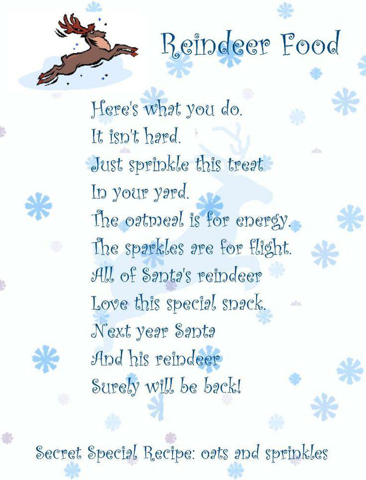 reindeer food poem - Google Search | Christmas | Pinterest