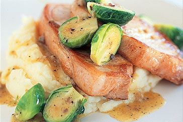 ... serve these tasty brussels sprouts with pork chops and mashed potato