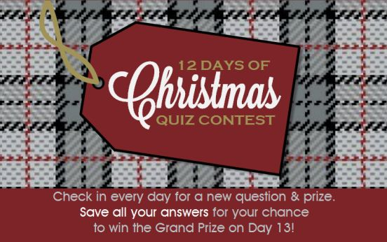 PMall is having this cool 12 Days of Christmas Quiz - each day from Dec. 1-12th they have a new question or puzzle that you can answer for a chance at winning a prize - there's a new one each day!