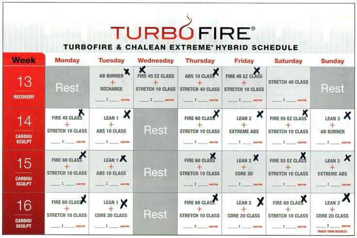 Fire week 13 Calendar | TURBO FIRE AND CHALEAN EXTREME HYBRID SCHEDULE ...
