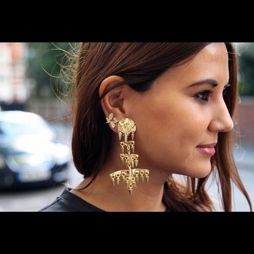 Christine Centenera's awesome Balenciaga earrings at LFW