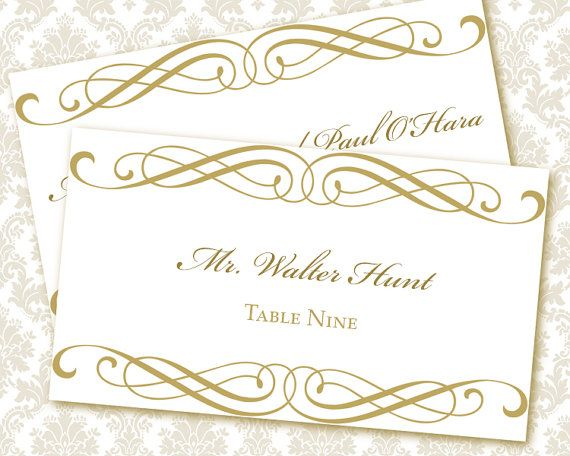 wedding place card templates printable - Printed Wedding Place Cards