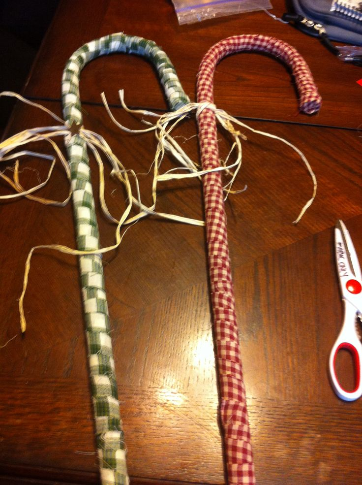 Primitive country home spun wrapped Andy canes that light up
