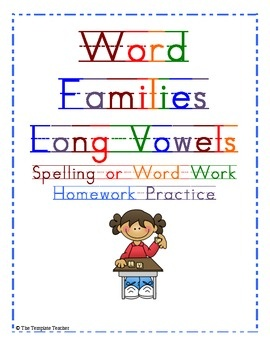 long vowel Word Family worksheets can be used as spelling or word ...