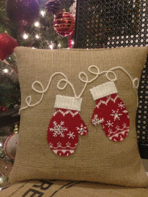 hand crafted burlap pillow with mittens made from recycled wool sweaters #thelittlegreenbean #indigo #magicalholiday.