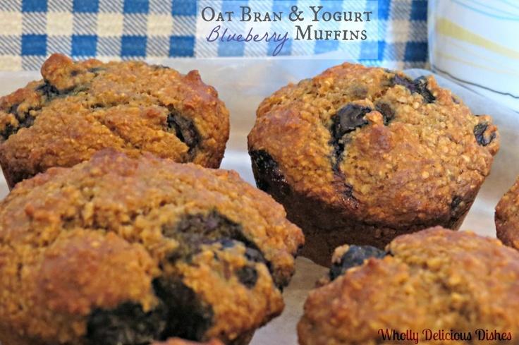 Oat Bran & Yogurt Blueberry Muffins | bread | Pinterest