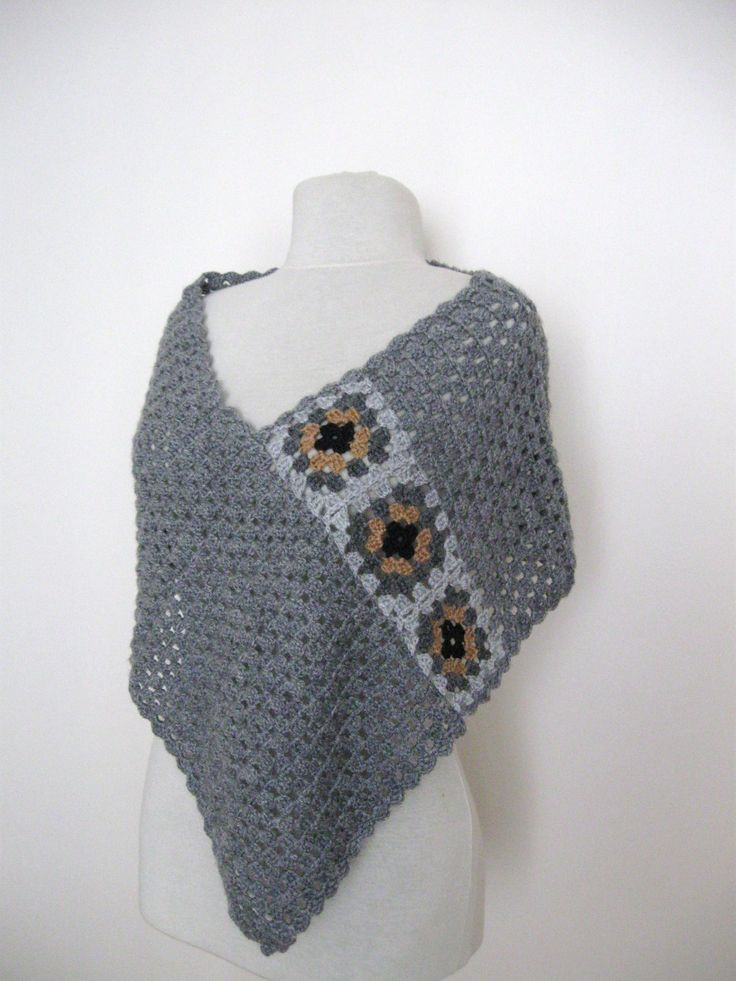 Free Crochet Patterns For Granny Square Ponchos : Crochet grey poncho with granny square motifs gift guide ...