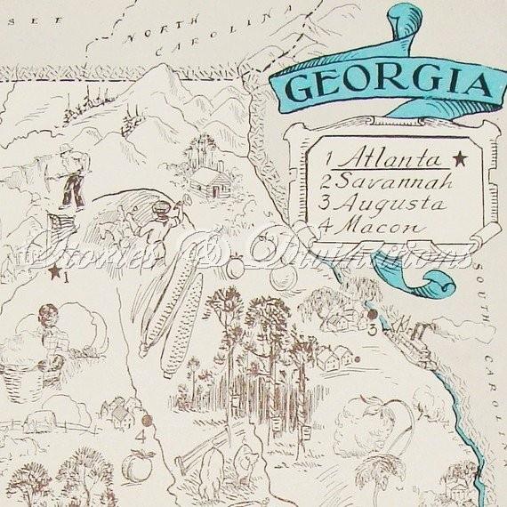 Vintage Map Of Georgia  Georgia  Pinterest