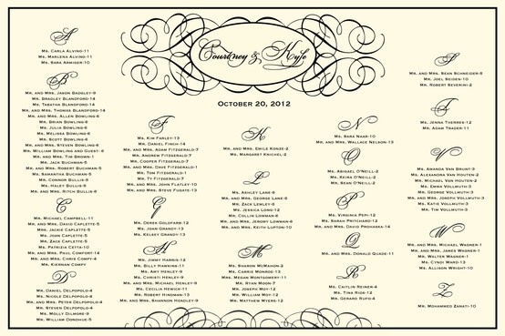 Beautiful Wedding Seating Chart for a reception, shower, or rehearsal ...