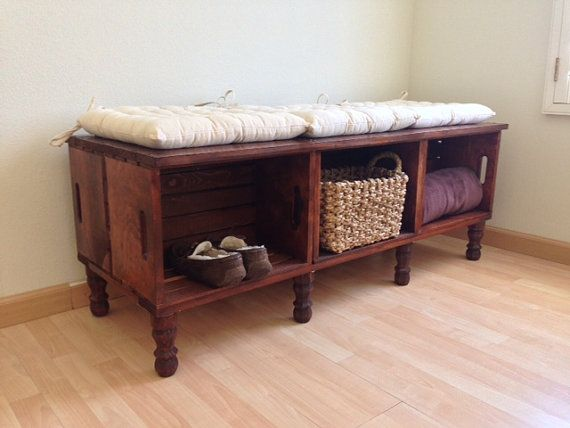 Vintage Wooden Bedroom Bench With Storage