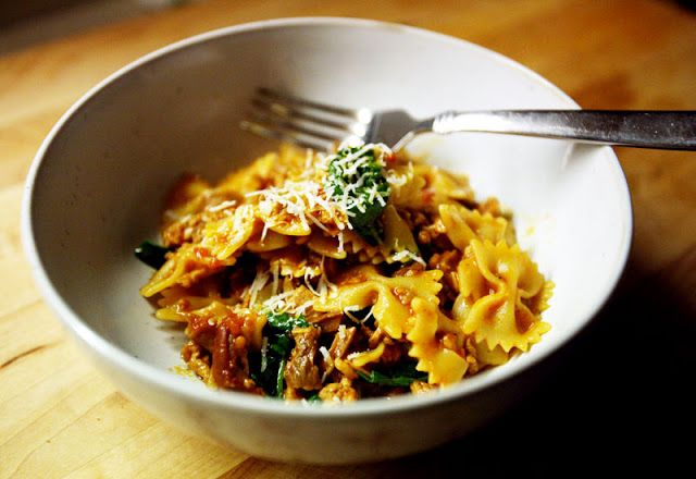 Farfalle with Veal, Porcini, and Spinach | Cucina epicurea | Pinterest