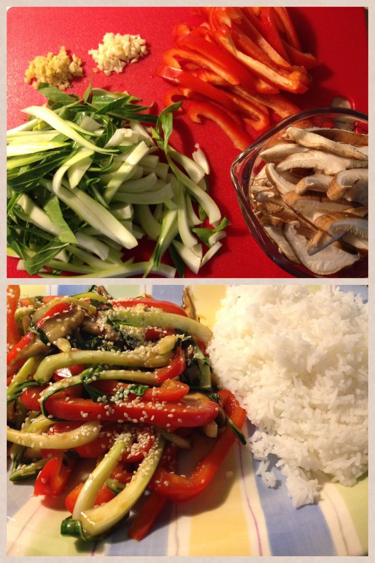 Baby bok choy with shiitake mushrooms and red bell pepper http://blog ...