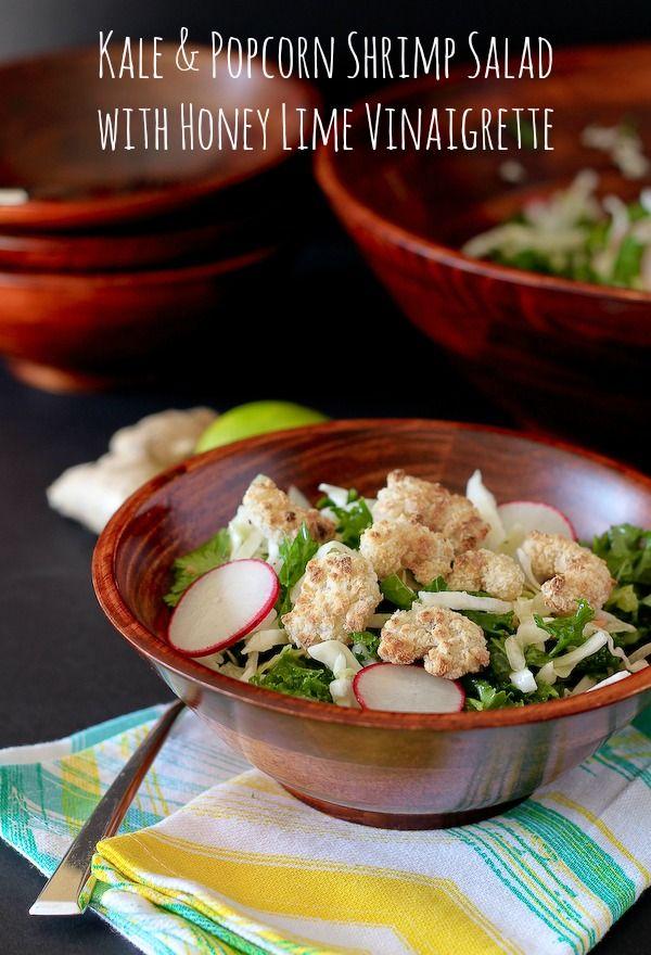 Kale Salad with Popcorn Shrimp and Honey Lime Vinaigrette ...