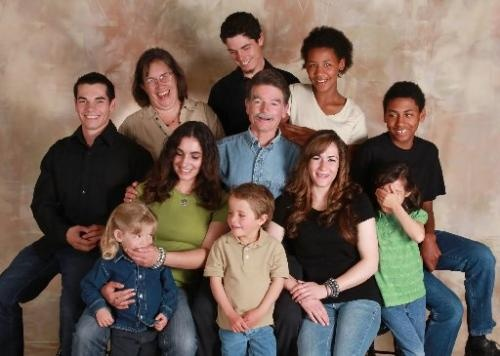 The McMinn family is made up of half biological children and half adopted children.