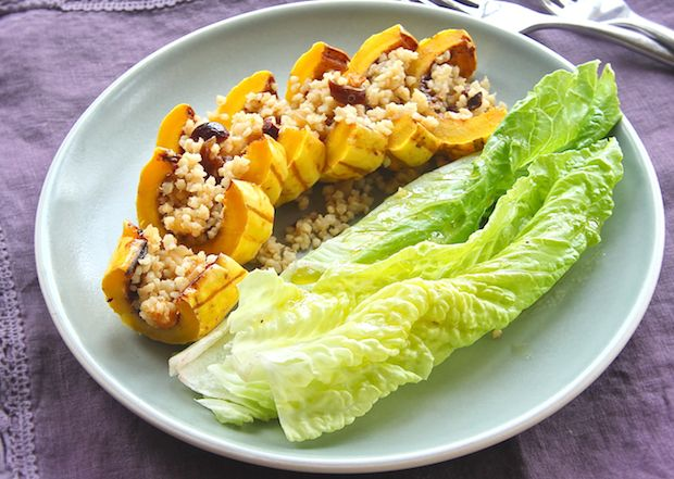 Spicy Squash Boats with Fruity Quinoa Pilaf -- probably more trouble ...