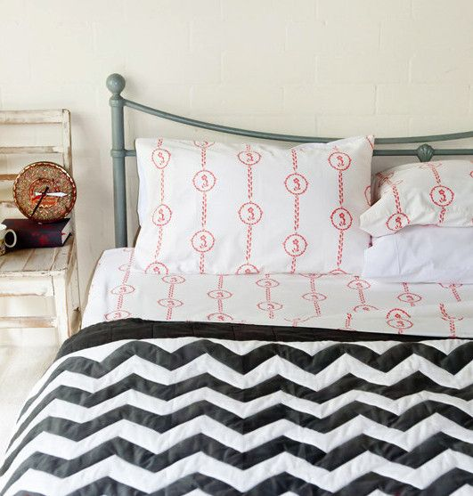 Quilted Black & White Chevron Doona Cover