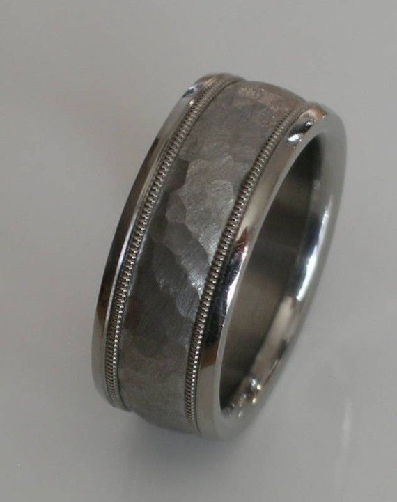 Custom Made Tungsten And Titanium Comfort Fit Wedding Band Hammered T