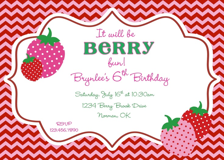 "Perfect for that ""berry"" sweet party-by Cupcakes and Lemonade"