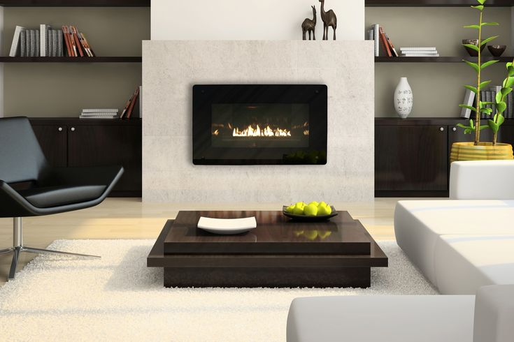 Fireplace with built in shelves fireplaces pinterest for Contemporary ventless gas fireplace